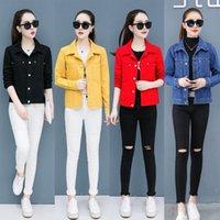 여성 재킷 청바지 재킷 코트 여성을위한 2021 가을 봄 가을 캔디 컬러 레드 옐로우 블랙 패션 캐주얼 짧은 데님 코튼 사무실 l