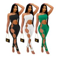 One Shoulder Asymmetrical 1 Piece Overall Women Jumpsuits Round Buckle Side Hollow Out Jumpsuit High Street Backless Skinny Catsuit