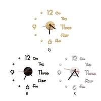 Wanduhren Kreative Yodern Römische Zahlen Buchstaben Yirror Uhr Stick Durable 3D DIY Wandbild Abziehbilder Klebstoff Dekorative Stöcke