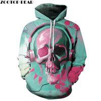 Women's Hoodies & Sweatshirts Music Skull Printed 3D Hip Hop Men Women Pullover Unisex Novelty Autumn Outwear Rock Jackets Male Coats