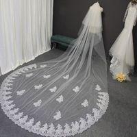 Bridal weits Высокое Качество Кружева Длинные Свадебные Вуаль 4 метра 2 Слои с Комбичаровывают Белая IVORY 2T 4M Аксессуары