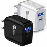 FAST 18W Dual Ports Wandladegerät EU US AC Home Travel PD Typ C Wall Chargers Adapter für iPhone 11 12 Samsung PC Android Telefon mit Box