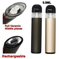 0.9ml Şarj Edilebilir Tek Kullanımlık Vape Kalemler Özelleştirilmiş Seramik Orta Parçaları E-Sigaralar 280 mAh Pil USB Portu Yapış Tops Tam Gram Boş OEM Logo Emme Delik 4 * 1.8mm