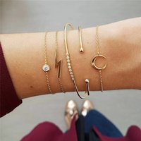 Chain Bracelets Bright Silver Knotted Beaded Metal Moon Lightning Full Diamond Geometric Triangle Combination Multilayer Temperament Wild Wrist Set Jewelry Gift