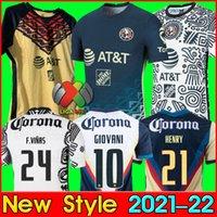 LIGA MX 21 22 Club America Soccer Jerseys Away Giovani Caceres B.Valdez 2021 2022 Maillot Men Fan Kit adulte Kit de football