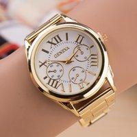 デザイナーの高級ブランドの時計3目ゴールドジュネーブカジュアルクォーツ女性ステンレススチールドレスエスレロジオフェミニーノレディースクロック