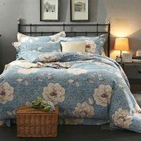 Yatak Setleri Shabby Chic Çiçek Çiçeği Yumuşak Sıcak Nevresim Çarşaf Seti Twin Tam Kraliçe Kral Size3 / 4 adet 100% Fırçalanmış Pamuk