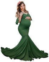 فساتين الأمومة للصور اطلاق النار النساء الحوامل مثير الكتف حورية البحر الملابس الحمل اللباس استحمام الطفل التصوير الدعائم 267 Z2