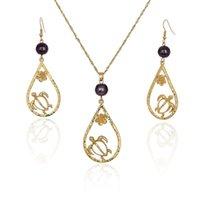 Conjunto de joyas de tortuga Joyas Boho Conjuntos de joyas para mujeres Precio al por mayor Precio Oro Plateado Pendientes Collares Hawaiian Pearl Regalo Ladies Collar