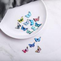 Alloy Drip Butterfly encantos para la joyería que hace collar pulsera colgante azul amarillo colorido mariposa encanto hallazgo