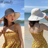 Wide Brim Hats Spring Women Bucket Fishing Sunscreen Sun Cap Foldable Korean Double-sided Wear Lady Fisherman Hat Beach