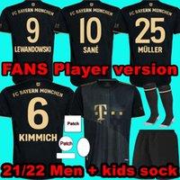 Hayranlar oyuncu versiyonu 21 22 SANE Lewandowski Coman Gnabry Alaba Davies Muller Kimmich Futbol Forması HRFC 2021 2022 Futbol Gömlek Erkekler Çocuklar Çorap Üniforma Bayern Münih