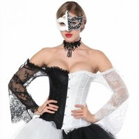 Черно-белые цветочные кружева Flare рукав викторианский сексуальный Корсетт для женщин Стимпанк Одежда Готический корсет Верхний Bustier Vintage V9HR #