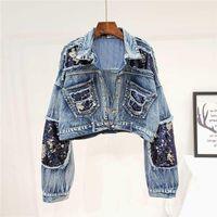 Autumn New Fashion Heavy Sequins Frayed Short Denim Jacket Women Loose Jeans Jacket Female Student Streetwear Ripped Jean Coats1