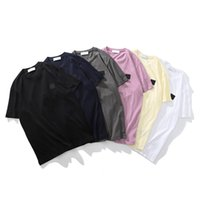 컬러 슬리브 아이콘 간단한 최고 품질 높은 면화 짧은 톱 스니 캐주얼 CP 단단한 티셔츠 남성 패션 여름 FDHHV