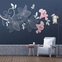 Wallpapers Custom Size Self Adhesive Wallpaper Light Luxury Flower Bird Plant Waterproof Wall Cloth Living Room TV Sofa Background Murals