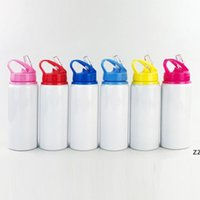 600ml Aluminum Water Bottles Sublimation Blanks Bottle Big Mouth Suction Nozzle Kettle White Color Sports Cup sea shipping HWB7910