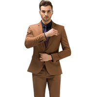 Brown Suit Mens Wedding Prom Party Suits One Button Male Formal Groom Business Tuxedos 3 Piece Set (Jacket+Vest+Pants) Men's & Blazers