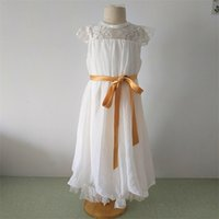Newest Flower Girl Dresses with Cap Sleeve Fashion Party Pageant First Communion Real Chiffon Little Girls Kids Child Dress