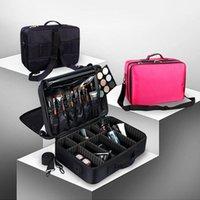 المرأة المهنية كبيرة كبيرة ماكياج مربع حقيبة المكياج حقيبة مستحضرات التجميل المنظم تخزين حالة سستة الزينة غسل الجمال الحاجز 1