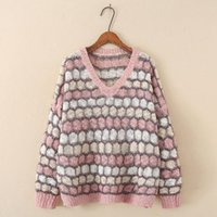 Plus Size T-Shirt Plus-size Sweater For Women Spring Crochet Stripe Loose V Neck Long Sleeve Top Large Women's Slim Sweaters