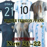 Messi conceito versão 2021 2022 argentina casa futebol jersey fã player 21 22 dybala aguero di maria maradona 20 21away camisa de futebol homens crianças