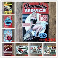 Metal Painting Metal Tin Signs Car Repairing Store Poster Vintage Lady Motor Plaques Decorative Iron Plates Bar Club Wall Decor 39 Designs{category}