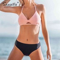 Seaselie Sexy Rosa und Navy Halter Niedrige Taille Bikini Sets Badeanzug Tank Top TOP THOPEN Swimwear Frauen 2021 Strand Badeanzug 210319