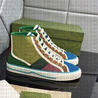 50% скидка на высшем качестве мужчин платье обувь теннис Rhton резиновая подошва красная зеленая полоса красочный холст бренд досуг случайный белый кроссовки женщин оригинальная коробка 35-46