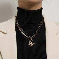 Pendentif Colliers KMVEXO Chaînes de perles simulées Simulées pour femmes Pave Crystal W Letter Toglar Colliers Colliers KPOP Bijoux