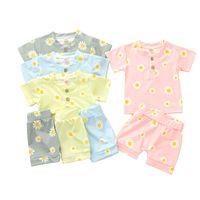 Kids Baby Pajamas Suits 4 Colors Daisy Printed Pijamas Infant Girls Button T-shirts Short Sleeve Tops Shorts Baby Boys Sleepwear 06210310