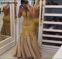 Vestido De Festa Long Sexy Gold Mermaid Prom Dresses 2021 V Neck Lace Applique Beaded Pearls Sheer Back Evening dress red carpet formal party gowns on sale