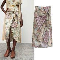 Skirts Artzgmsj saia feminina com nó, de moda irregular solta midi elegante para mulheres 06 XKPL