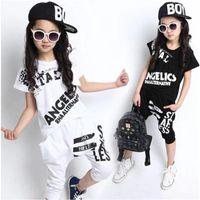 Blanco Niño Niño Adulto Muchacho Jazz Hip Hop Hiphop Performance Disfraz de Danza T-shirt Harem Pantalones Ropa
