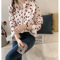 Fashion Print Cherry Blouse Sweet Korean Oose Shirt Blusas Mujer Top Female Womens Tops Blouses Tee Woman Shirts Ropa Women's &