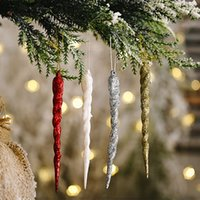 Christmas Simulation Ice Xmas Tree Hanging Ornament Fake Icicle Winter Party Christmas New Year Decoration Supplies Gold Sliver Decor