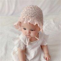Nette Spitze Neugeborenes Baby Hut Fotografie Requisiten Blume Sommer Baby Zubehör Mädchen Sonnenhut Atmungsaktive Baumwollfans-Bonnet-Kappen 1333 Y2