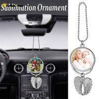 Sublimation Big Wings Necklace Pendants Sublimation Blanks Car Pendant Angel Wing Rearview Mirror Decoration Hanging Charm Ornaments DHL FJ09