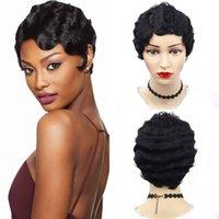 손가락 웨이브 인간의 머리 가발 인도 짧은 빈티지 Pixie 컷된 가발 흑인 여성에 대 한 컷된 가발