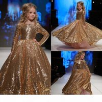2019 Sparkly Gold Sequined Little Flower Girl Dresses Jewel Neck Long Sleeve Kids Formal Wear Girls Pageant Dresse