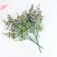 Bouquet Green Eucalyptus Leaves Silk Money Branch Fake Plants For Home Wedding Birthday Party Decor Foliage Decorative Flowers & Wreaths