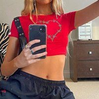 Heart Shiny Rhinestone Drill Y2K Crop Tops Women Vintage Aesthetic 90s Tees Casual O-neck Short Sleeves 2021 Summer Slim T-shirt Women's