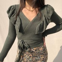Women's Sweaters Short Pullover Sexy Woman Deep V-neck Long-sleeve Slim-fit Sweater With Belt 2021 Lotus Leaf Collar Ladies Knitted Solid To