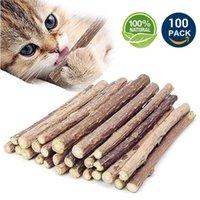 고양이 장난감 100pcs / lot 자연 마타 타비 catnip 장난감 나무 애완 동물 고양이 고양이의 몰 치약 지점 실버 바인 스틱 청소