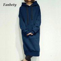 Autumn Winter Hoodied Solid Sweatshirt Dress Elegant Front Drawstring Long Sleeve Women Casual Pocket Loose 5XL Dresses