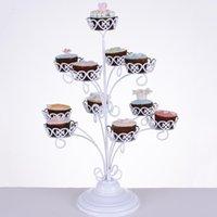 11 홀더 컵 케이크 스탠드 생일 파티 장식 용 화이트 레이스 디저트 선반 금속 케이크 디스플레이 튼튼한 34DW BZ 지원