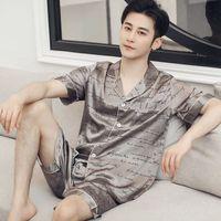 Thoshine Brand Summer Pajamas Sets Men Chinese Silk Satin Sleepwear Home Clothes Male Luxury Soft Nightwear Sleep Two piece set 210918