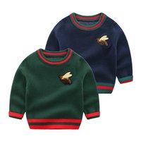 Çocuklar Sıcak Kazak Tasarım Bebek Kız Erkek Işlemeli Arı Örme Kazak Jumper Noel Yün Karışımları Kazak Çocuk 0-24 M Butik Giyim Giyim