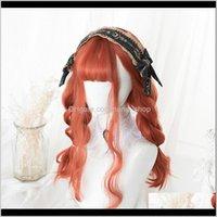 Peruk Saç Ürünleri Damla Teslimat 2021 Meifan Lolita Pembe Turuncu Patlama Bob Orta Uzunlukta Su Dalga Cadılar Bayramı Sentetik Parti Cosplay Peruk