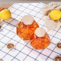 Стеклянная банка для меда для 220 мл / 380 мл мини маленькая медовая бутылка контейнер с деревянной ложкой палочки NHA5418